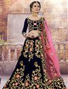 image of Velvet Fabric Navy Blue Reception Wear Designer Embroidered Lehenga Choli