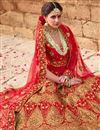 photo of Velvet Fabric Party Wear Bridal Lehenga In Red With Embroidery Designs