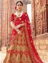 image of Velvet Fabric Party Wear Bridal Lehenga In Red With Embroidery Designs