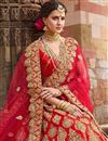 photo of Red Satin Fabric Wedding Wear Bridal Chaniya Choli With Zari Work