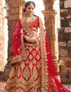image of Red Satin Fabric Wedding Wear Bridal Chaniya Choli With Zari Work
