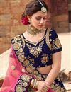 photo of Wedding Special Occasion Wear Navy Blue Zari Work On 3 Piece Lehenga Choli In Velvet Fabric