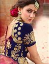 picture of Wedding Special Occasion Wear Navy Blue Zari Work On 3 Piece Lehenga Choli In Velvet Fabric