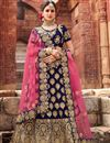 image of Wedding Special Occasion Wear Navy Blue Zari Work On 3 Piece Lehenga Choli In Velvet Fabric