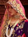 photo of Wedding Special Satin Pink Color Sangeet Wear Lehenga With Zari Work