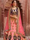 image of Wedding Special Satin Pink Color Sangeet Wear Lehenga With Zari Work