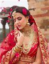 photo of Best Selling Red Zari Work On Satin Party Wear Lehenga Choli