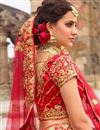 picture of Best Selling Red Zari Work On Satin Party Wear Lehenga Choli