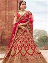 image of Best Selling Red Zari Work On Satin Party Wear Lehenga Choli