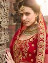 photo of Best Selling Velvet Red Sangeet Wear Lehenga With Zari Designs