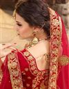 picture of Best Selling Velvet Red Sangeet Wear Lehenga With Zari Designs