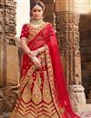 image of Best Selling Velvet Red Sangeet Wear Lehenga With Zari Designs