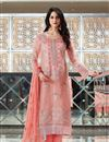 image of Peach Designer Embroidered Straight Cut Salwar Kameez In Fancy Fabric