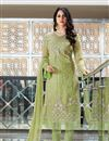 image of Festive Special Fancy Fabric Party Wear Straight Cut Salwar Suit In Green With Embroidery Work