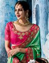 photo of Fancy Fabric Pink Occasion Wear Saree With Embroidery Work