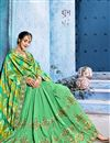 photo of Festive Special Sea Green Fancy Fabric Function Wear Designer Saree With Embroidery Work