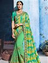 image of Festive Special Sea Green Fancy Fabric Function Wear Designer Saree With Embroidery Work