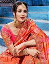 photo of Orange Embroidery Work On Function Wear Saree In Fancy Fabric