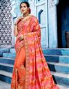image of Orange Embroidery Work On Function Wear Saree In Fancy Fabric