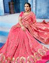 photo of Festive Special Radiant Embroidery Work On Pink Fancy Fabric Party Style Saree