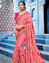 image of Festive Special Radiant Embroidery Work On Pink Fancy Fabric Party Style Saree