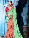 image of Festive Special Excellent Fancy Fabric Salmon Color Party Style Saree With Embroidery Designs