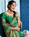 photo of Festive Special Dark Green Embroidery Work On Fancy Fabric Occasion Wear Designer Saree