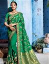 image of Festive Special Dark Green Embroidery Work On Fancy Fabric Occasion Wear Designer Saree