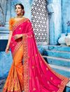 image of Festive Special Beguiling Embroidery Work On Orange Fancy Fabric Party Wear Saree