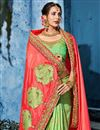 photo of Incredible Embroidery Work On Fancy Fabric Sea Green Function Wear Saree