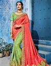 image of Incredible Embroidery Work On Fancy Fabric Sea Green Function Wear Saree