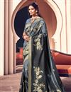image of Chic Banarasi Style Art Silk Party Wear Grey Color Weaving Work Saree