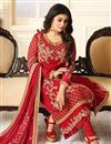 photo of Eid Special Ayesha Takia Embellished Georgette Straight Churidar Dress In Red