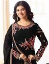 photo of Ayesha Takia Embroidered Georgette Black Straight Cut Churidar Suit
