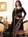 image of Ayesha Takia Embroidered Georgette Black Straight Cut Churidar Suit