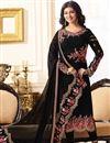 image of Ayesha Takia Embroidered Georgette Black Straight Cut Churidar Suit