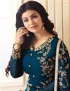 picture of Eid Special Ayesha Takia Georgette Embroidered Navy Blue Straight Cut Churidar Dress