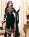 image of Eid Special Ayesha Takia Georgette Embellished Straight Churidar Salwar Suit In Dark Green