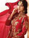 photo of Eid Special Ayesha Takia Wedding Wear Red Embroidered Long Anarkali Suit