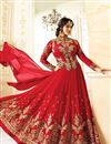 image of Eid Special Ayesha Takia Wedding Wear Red Embroidered Long Anarkali Suit