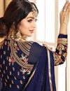 picture of Eid Special Ayesha Takia Navy Blue Georgette Embellished Floor Length Anarkali Dress