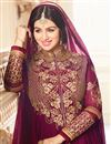 picture of Ayesha Takia Wedding Wear Purple Embroidered Long Anarkali Suit