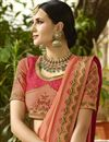 photo of Designer Function Wear Salmon Color Saree In Art Silk Fabric With Work