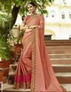 image of Salmon Color Embroidered Saree In Art Silk Fabric For Wedding Functions