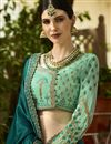 photo of Wedding Wear Embroidered Saree In Art Silk Fabric Teal