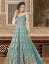 image of Ready To Ship Net Wedding Wear Light Cyan Embellished Lehenga Choli
