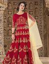 image of Ready To Ship Designer Fancy Long Anarkali Salwar Suit In Art Silk Red