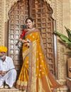 image of Mustard Art Silk Trendy Function Wear Embroidered Saree