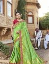 image of Trendy Function Wear Sea Green Art Silk Embroidered Saree