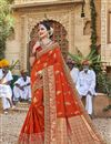 image of Orange Trendy Function Wear Art Silk Embroidered Saree